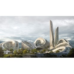 Smart City de Flying Architecture et Zaha Hadid Architects. Rendu avec V-RAy pour Rhino.